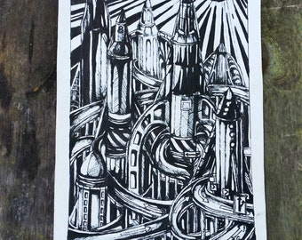 Rocket Cityscape Original Drawing in Ink