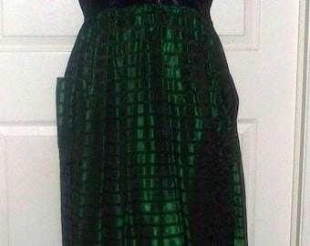 Green Black Taffeta Dress - Vintage - 1940s/50s - Size Unmarked - Handmade - Side Zip