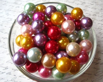 CLEARANCE Pearl Beads, 16mm Mixed Lot Gumball Beads, 10 pcs Faux Pearl Bead, Pearl Bubblegum Beads, Vibrant Color Necklace Beads