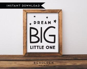 Digital Download, Dream Big Little One, Nursery Printable, Nursery Wall Art, Baby boy nursery, Baby girl nursery, Baby Room Wall Art