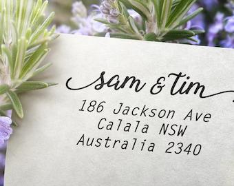 Return Address  Stamp Custom Made Personalised Calligraphy Self Inking Rubber Stamp 6cm x 3.5cm DIY Wedding Invitation Envelopes