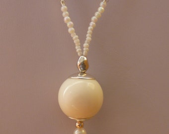White Evening necklace - Made in FRANCE