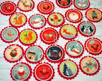 Christmas ornaments Advent calendar ornaments Kids Christmas gift Xmas decor Christmas tree Christmas countdown Advent ornaments Kids advent