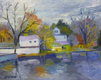 Across the Lake Original Plein Air Landscape Oil Painting