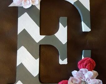 Wood Hanging letter, Nursery wall decor, Nursery Letter, Chevron Letter