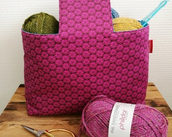 """Project bag """"Pink-blue"""", lined and interfaced, Leukgemaakt, knitting project bag, on-the-go bag, gift for women, crochet, birthday Christmas"""