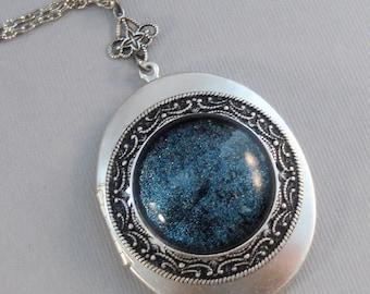 Callisto Moon,Locket,Silver,Turquoise,Blue,Galaxy Necklace,Galaxy Locket,Blue Necklace,Moon Locket,Star Locket,Star,Moon,Moon Necklace