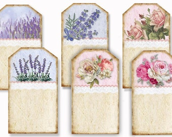 Lavender & Roses Tags, Digital download ,printable gift tags, cottage chic gift tags, wedding tags, Valentines Day, craft supplies and tools