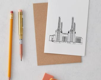 Battersea Power Station Greeting Card, Birthday card, Thank you card, London print,