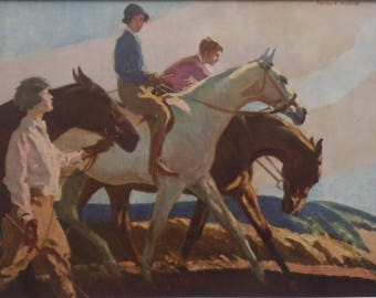 Vintage HORSE Art 1931 - Youngsters Riding & Leading Horses -Grey Horse - Horse Print - Equine Print - F Whiting - Matted - Ready to Frame