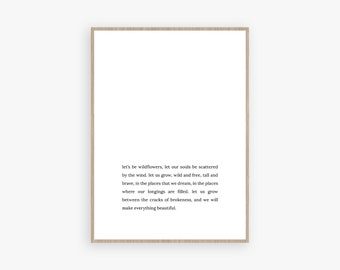 Wildflowers quote, printable quote, quote wall art, quote art, printable quotes, printable quote art, scandinavian print, typography print