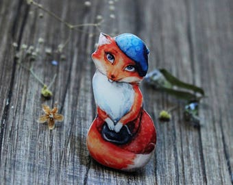 Fox brooch Fox Jewelry Animal Jewelry Animal Lovers Fox Lovers Birthday Gift|for|Her Gift|for|Girl Gift|for|daughter Girls jewelry|for|Teens