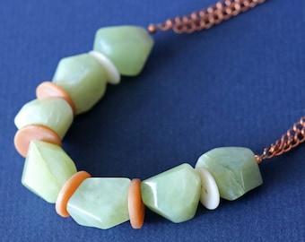 Nouveau collier en cuivre Jade vert d'eau