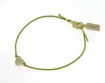 """Bracelet """"Love"""" - gold heart, feminine, delicate"""