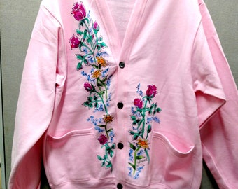 PRICE REDUCED! Rose Bouquet Fleece Cardigan w/button front, Light Pink