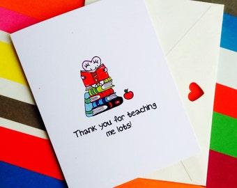 Thank You Teacher card, best teacher card, teacher card, goodbye teacher card, thank you card, good luck teacher card, greeting cards