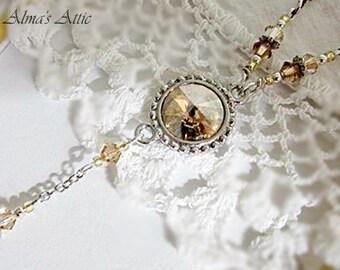 Gold Crystal Pendant, Rivoli Crystal Necklace, Crystal Drop Pendants, Crystal Jewelry, Gold Shadow Crystal Pendant, BridalWedding Jewelry