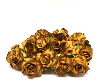 Two Tone Brown Classic Mulberry Paper Roses Cr040