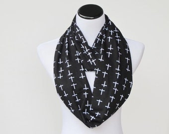 Black Scarf Infinity Scarf black and white Gothic Crosses Halloween scarf jersey knit scarf black scary infinity scarf gift for Gothic girl