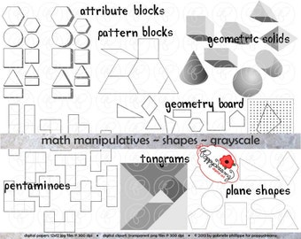 Math Manipulatives Shapes GRAYSCALE Clipart Set - (300 dpi) School Teacher Clip Art Numbers Math Geometric Pentamino Pattern Tangram Shapes