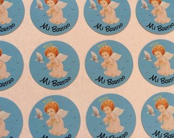 Mi Bautizo Stickers for Boys, 100 PCS, Mi bautizo party favors, Mi Bautizo envelopes seals, Boy Mi Bautizo paper stickers.