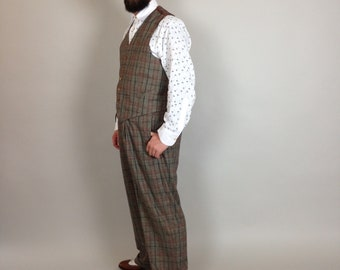 fishtail back trousers, vintage style trousers, high rise men's pants,  30's, 40's, Lindy Hop trousers, checkered pants