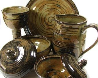 Ceramic Communion Sets - Custom Made for Your Wedding, Communion, New Minister / Handmade Stoneware Wheel Thrown Clay