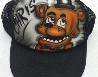 Airbrushed Five Nights At Freddy's Freddy Inspired Hat Trucker Snapback Personalized