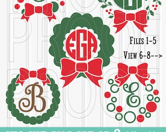 Christmas Monogram SVG Files Set of 8 cut files includes svg/png/jpg formats! Commercial use approved! Christmas svg wreath svg