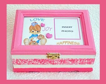 Baby Girl Music Memory Box, Keepsake Box, Plays Lullaby, Personalized Keepsake Box,Storage Box, Music Box, Baby Gift, Photo Box, Baby Shower