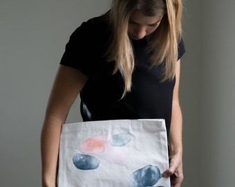 Hand Painted Tote bag with Leather Straps, Abstract Pattern, Handmade