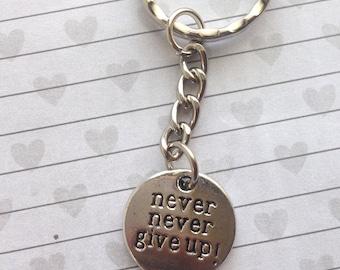 Cute keyring Never never give up keychain motivational keyring fitness keyring