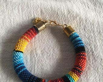 Serape Bead Crochet Bracelet