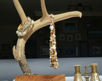 Jewelry Holder, Deer Antler Jewelry Holder, Jewelry Organizer, Natural Wood and Antler Jewelry Holder, Rustic Jewelry Holder,