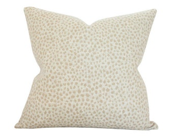 Dotted Beige Designer Pillow Cover - Custom Made-to-Order - Cream Spotted Throw Cushion