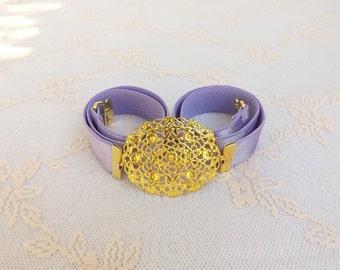 ON SALE. Light purple elastic waist belt. Skinny dress belt. Gold filigree oval buckle. Bridal/ Bridesmaid Lavender Purple Wedding belt