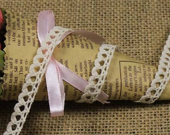 x 1 meter Ribbon lace with fringe cotton beige Y01030 1 CM wide