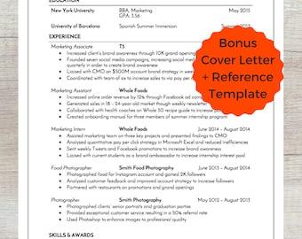 Modern Resume Template / CV + Cover Letter + Reference   Modern Professional or Teacher Resume   Word Resume   Instant Download Best Resume