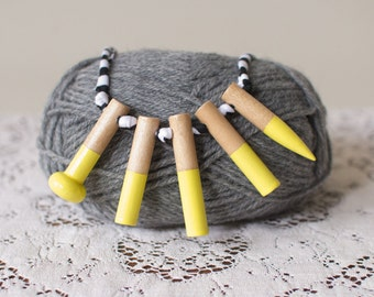 Dipped wooden knitting needle necklace in Yellow. Hand painted. Statement necklace. Knitters gift. Upcycled necklace. Child friendly. Eco.
