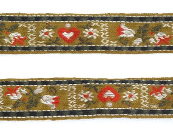 "Hearts & Flowers Vintage Ribbon, Jacquard Ribbon, Sewing Trim, Floral Ribbon, Tyrolean Trim, Folkloric, Tapestry Ribbon, 1"" wide, 3 yards"