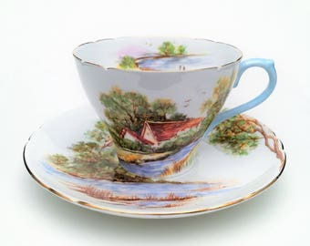 Vintage Shelley, England Bone China 'Old Mill' Tea Cup & Saucer, Gainsborough Shape, ca. 1945-1966
