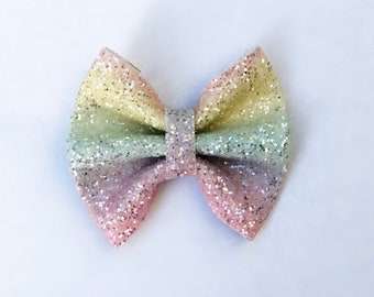 Pastel rainbow chunky glitter bow on sn alligator clip