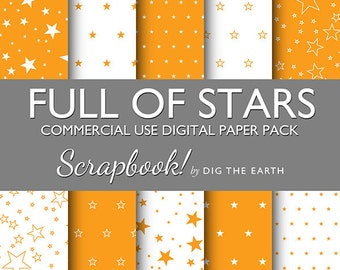 INSTANT DOWNLOAD Full Of Stars Wallpaper Digital Collage Sheets 12x12 inch Set of 10 Digital Papers Orange Citrus Commercial Use