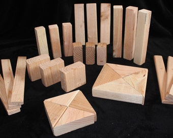 Hand made wooden building blocks