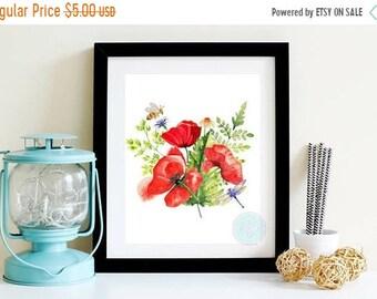 13% OFF SALE- PRINTABLE Poppy Flower Print Kitchen Wall Decor Flower Art Print Kitchen Art Dragon Fly Print Print Flower Printable Digital P