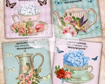 Vintage  Shabby Chic Tea Cup Digital Collage Sheet Digital Coasters Cards Large Square Images for Decoupage, Scrapbooking