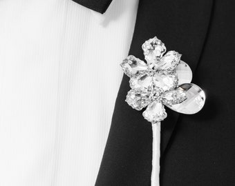 Prom Boutonniere, Wedding Boutonniere - Two Flower Ranier Boutonniere with Silver Leaves - Buttonhole, Silver Boutonniere, Crystal Bling