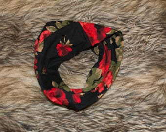 Infinity scarf baby-toddler - floral - Red
