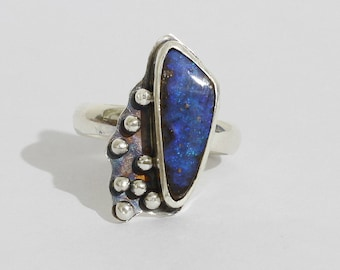 Boulder Opal  Ring in Sterling Silver 950%