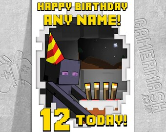 PERSONALISED BIRTHDAY CARD - Enderman Cake Windowed - Minecraft Themed